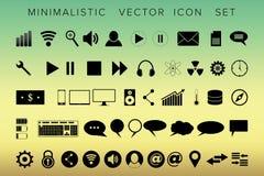Uppsättning av universella moderna symboler för rengöringsduk och mobil Arkivfoton