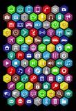 Uppsättning av universella symboler med lång skugga Plan design Royaltyfri Fotografi