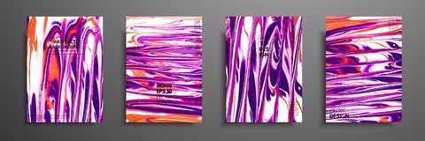 Uppsättning av universella vektorkort Vätskemarmortextur Färgrik design för inbjudan, plakat, broschyr, affisch, baner royaltyfri illustrationer