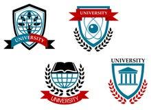 Uppsättning av universitet och utbildning Arkivfoto