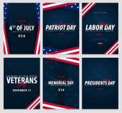 Uppsättning av USA berömmar Offentliga ferier 4th Juli, patriotdag, arbets- dag, dag för veteran` s, minnesmärke- och presidentda stock illustrationer