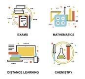 Uppsättning av utbildningsbegrepp, examina och distansutbildningprocessen Royaltyfri Fotografi