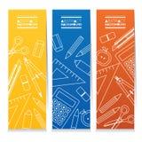 Uppsättning av utbildningsbegreppet för tre det färgrika vertikala baner Arkivfoton