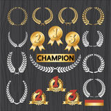 Uppsättning av utmärkelseemblem, utmärkelsegarneringsymbol Royaltyfria Bilder