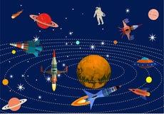 Uppsättning av utrymme och kosmiska objekt, galax och planeter stock illustrationer