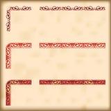 Uppsättning av utsmyckade gränser med dekorativa hörnbeståndsdelar, vektor Royaltyfri Bild