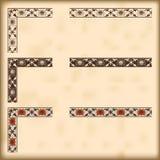 Uppsättning av utsmyckade gränser med dekorativa hörnbeståndsdelar, vektor Arkivfoton