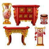 Uppsättning av utsmyckat möblemang i orientalisk stil som isoleras på vit bakgrund Röd golvvas, tabell med den guld- prydnaden royaltyfri illustrationer