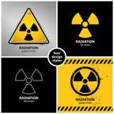 Uppsättning av utstrålningsvarningssymboler Arkivbilder