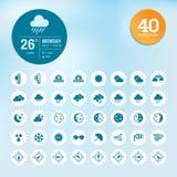 Uppsättning av vädersymboler och manickmallen Royaltyfria Bilder