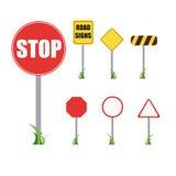 Uppsättning av vägmärken, stopp, illustration stock illustrationer