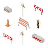 Uppsättning av vägmärkereparationer i isometriskt, vektorillustration Arkivfoto
