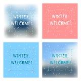 Uppsättning av välkomnandet för vinter för kort för fyra vinterhälsningar Stock Illustrationer