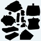 Uppsättning av värdefull saker: guld- stänger, mynt, kassa, spargris och handväska Royaltyfri Fotografi