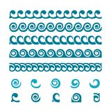 Uppsättning av våggränsprydnader stock illustrationer