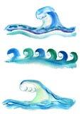 Uppsättning av vågor royaltyfri illustrationer