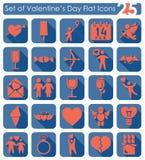 Uppsättning av valentin dagsymboler Arkivfoto