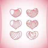 Uppsättning av valentin symboler, designbeståndsdelar Royaltyfria Bilder