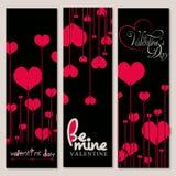 Uppsättning av 3 Valentine Day Background i svart och röd färg Arkivfoton