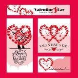 Uppsättning av 4 Valentine Day Poster Royaltyfri Foto