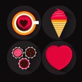 Uppsättning av Valentine Day Sweet och efterrätten Arkivbild