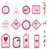 Uppsättning av Valentine Gift Tags med muffin, förälskelse, blomma, hjärta, fl Royaltyfria Bilder