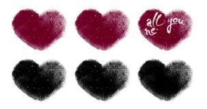 Uppsättning av valentinhjärtor för egenn som animerar med den Luma matten arkivfilmer