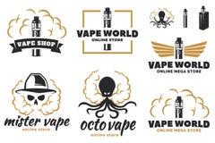 Uppsättning av vape, e-cigarett logo stock illustrationer