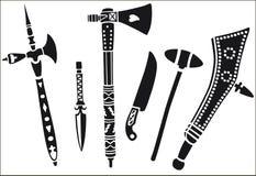 Uppsättning av vapen av indianen Royaltyfri Illustrationer