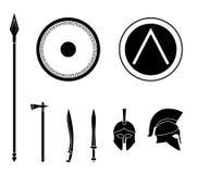 Uppsättning av vapen och skyddsutrustning för gammalgrekiska spartanskt Royaltyfri Bild