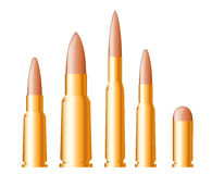 Uppsättning av vapenkulor och ammunitionar Royaltyfri Bild