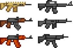 Uppsättning av vapensymboler i PIXELstil Arkivbild