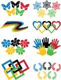 Uppsättning av variationer av det olympiska symbolet på vit Vektor Illustrationer