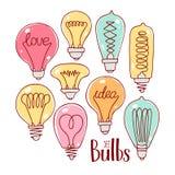 Uppsättning av varicolored lightbulbs Arkivfoto