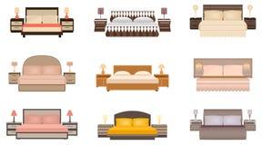 Uppsättning av varm säng för färger nio med nattduksbord, lampor och huvudgavlar vektor illustrationer