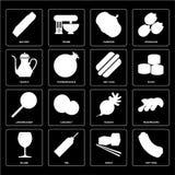 Uppsättning av varmkorven, sushi, exponeringsglas, rädisa, Jawbreaker, tekanna, Pumpki stock illustrationer