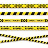 Uppsättning av varningsband. Vektorillustration. Arkivfoton