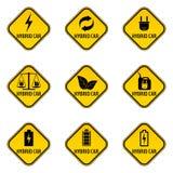 Uppsättning av varningsklistermärkear för hybrid- bil Tecken för varning för räddningenergibil vektor illustrationer