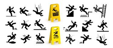 Uppsättning av varningssymboler med pinnediagramet falla för man Falla ner trappan och över kanten Blöta golvet som snubblar på t vektor illustrationer