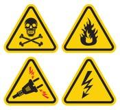 Uppsättning av varningstecknet Arkivbilder