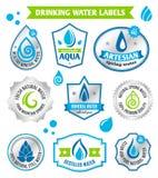 Uppsättning av vattendroppetiketten Royaltyfria Bilder