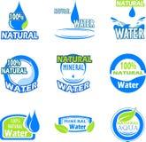 Uppsättning av vattenetiketter Royaltyfria Bilder