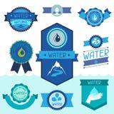 Uppsättning av vattenetiketter, emblem och klistermärkear stock illustrationer
