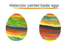 Uppsättning av 2 vattenfärg målade påskägg Royaltyfri Fotografi
