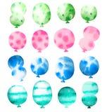 Uppsättning av vattenfärgballonger Fotografering för Bildbyråer