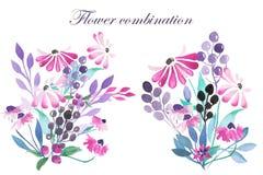 Uppsättning av vattenfärgbuketter med lilablommor, sidor och växter