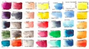 Uppsättning av vattenfärger med namn vektor illustrationer