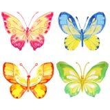 Uppsättning av 4 vattenfärgfjärilar på en vit bakgrund royaltyfri illustrationer