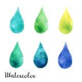 Uppsättning av vattenfärgfläckar Arkivfoto