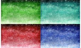 Uppsättning av vattenfärggräsplansmaragden, röd marsala och blåttmarin, lutningbakgrundsdesign med prickar som stjärnor royaltyfri bild
